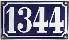 Old blue French house number 1344 door gate plate wall plaque enamel metal sign