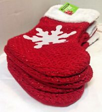 5 RED and WHITE Christmas Stockings Snow Flake Holiday 19 inch Be Jolly NEW
