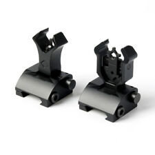 Black Premium Tactical Diamond Aperture Flip Up Front Rear Iron Sights hunt US