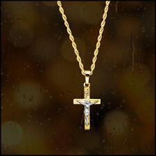 14K Yellow Gold Mens Women's Crucifix Cross Pendant Religious Jesus 18MM
