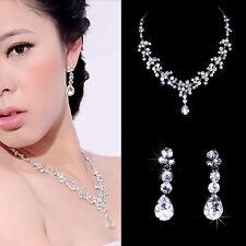 *PARURE BIJOUX STRASS *.collier, boucle d'oreille PINCE bijoux mariage soirée.