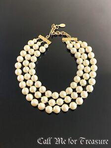 Carolee lucite Pearl multi strand choker necklace