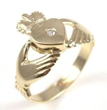 Claddagh Ring Diamond Set 9ct Gold