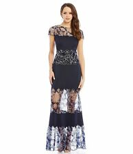 TADASHI SHOJI Embroidered Floral Gown In Royal Navy Size 14  NWT
