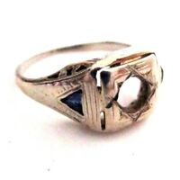 Antique 18K White Gold Filigree Sapphire Engagement Ring Setting 1925