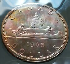 1965 Canada Silver $1 Dollar Coin - Nice Rose Colored Toning - 80% Silver