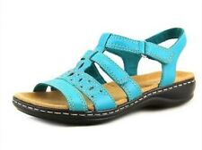 Clarks Leisa Apple Leather Multi-Strap Sandals Shoes Teal Green Size 11 W