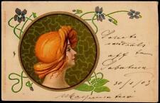 Vintage Art Nouveau UB PPC 1903 -  The Woman With Golden Hair