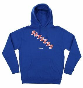 Reebok NHL Men's New York Rangers Logo Crest Basic Pullover Fleece Hoodie