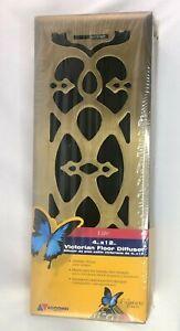 Victorian Floor Diffuser 4 X 12 Elite Antique Brass Plated Steel Rustproof 321