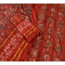 Sanskriti Vintage Indian Saree Woven Patola Sari Fabric Pure Silk Soft Dark Red