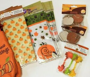 Treat Party Bags Pumpkin Thanksgiving Harvest Fall Gift Tags Leaf Clip *CHOICE*