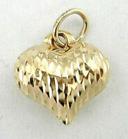 14k Yellow Gold Diamond Cut Puffed Heart Charm Pendant 16 x 11mm 3D