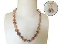 Nice Natural Multi-Purple Kasumi Freshwater Baroque pearl necklace Earring Set