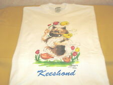 Keeshond Dog - Vintage 1992 Colorful Artwork Bright White T-Shirt New! Adult Xl