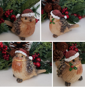 Christmas Robin Decoration Festive Ornament 2 Designs Holly Berry Glitter Finish
