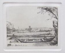 REMBRANDT Amand Durand Signed Etching CANAL WITH A LARGE BOAT AND BRIDGE