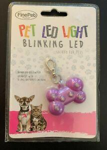 FinePet Pet LED Light blinking light bone shaped purple collar charm NIB