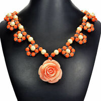 Pink Rose & Pearl Pendant Necklace Handcrafted Bespoke Jewellery Tantric Tokyo
