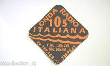 ADESIVO RADIO anni '80 / Old Sticker ONDA RADIO 105 ITALIANA (cm 9 x 9)