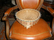 Abenaki/Mohawk fancy 1910 style ribboned split ash basket-Ribbon top and footed