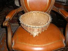 Abenaki/Mohawk fancy 1910 style ribboned split ash basket-Ribbon top and footed