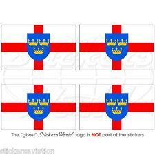 """East Anglia Bandera Norfolk, Suffolk, Reino Unido 50 Mm (2 """") bumper-helmet etiquetas engomadas, calcomanías X4"""
