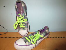 Converse green purple plaid All Star canvas sneakers sz 6 wms