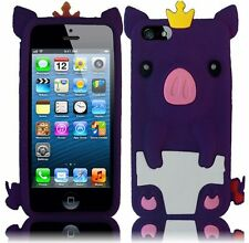 Apple iPhone 5 5S SE Rubber SILICONE Soft Skin Case Cover Cute Crown Pig Purple