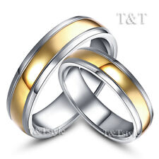 T&T 14K Gold GP S.Steel Engagement Wedding Band Comfort Fit Ring For Couple