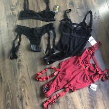 NWT Solstice Intimates Jag Mesh Bodysuits Black Harness Thong Bralette Lot M L