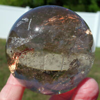 Brilliantly Clear SMOKY QUARTZ with RUTILE Crystal Sphere with Phantoms For Sale