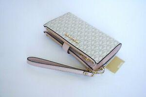 Michael Kors Jet Set Travel Double Zip Phone Wristlet MK Vanilla Pink Blush $198
