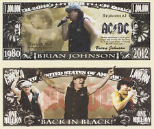 RARE Ac/dc Brian Johnson 000 000 Novelty Note Music. Buy 5 Get One
