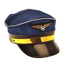 PILOT CAP FANCY DRESS AIRLINE CAPTAIN HAT AVIATION 80S AVIATOR COSTUME ACCESSORY