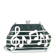 Nuevo Negro Blanco Notas Musicales Piel Sintética, Cadena de Plata, Cruzado,