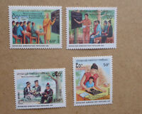 1990 LAOS SET OF 4 INTERNATIONAL YEAR OF LITERACY MINT STAMPS MNH