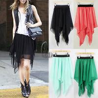 AU SELLER Celeb Style Uneven Hem Soft Chiffon Skirt Multiple colour dr128