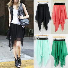 AU SELLER Celeb Style Uneven Hem Soft Chiffon Skirt Multiple colour dr128