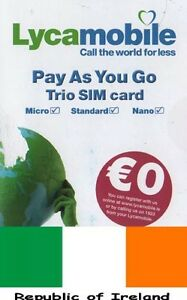 Lycamobile IRISH, PREPAID SIM card. NANO, MICRO or STANDARD size. Ireland.