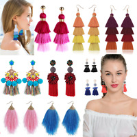 Fashion Women Bohemian Long Tassel Earrings Boho Fringe Hook Dangle Drop Jewelry