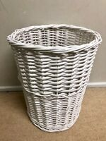 NEW GREY WHITE WICKER WILLOW RATTAN PAPER BIN BASKET WASTE OFFICE HOME CHIC