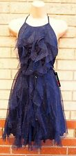 TEEZE ME NAVY BLUE GLITTER SPARKLY RUFFLE FRONT TUTU SKATER PARTY FRILL DRESS 8