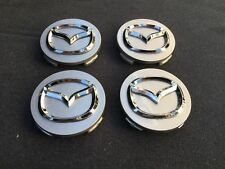 New 4 pc set Mazda Silver wheel center caps chrome emblem 56mm hub cap logo