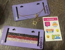 Claire's Golden Rhinestone Glitter Chocker Jewelry Necklace Justice Sticker Lot