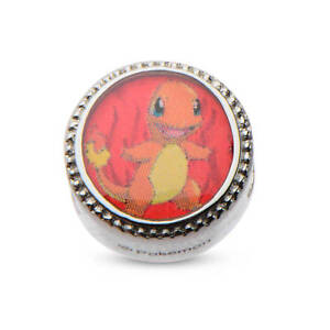 Pokemon Charmander Fire Flame Bead Stainless Steel Charm