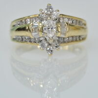 14k Yellow Gold 5/8 Cttw Marquise Round Baguette Diamond Engagement Estate Ring