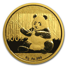2017 8 gram Gold Chinese Panda Coin Sealed in Mint Pouch Brilliant Uncirculated