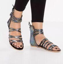 0c449bd7f81 People Womens Juliette Wrap Sandals Shoes Black Size 37
