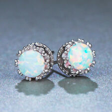 Classic Round White Fire Opal Gems Crown 925 Sterling Silver Stud Earrings